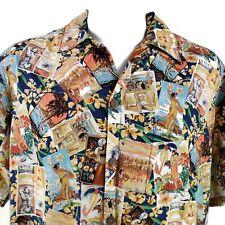 Go Barefoot Hawaiian History Floral Hibiscus Large Hawaiian Aloha Shirt