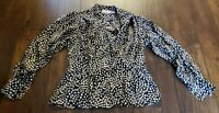 Jack Mulqueen 100% Silk Black & White Blouse Top Womens Size 4