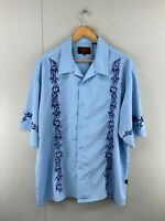 DF Clothing Mens Blue Vintage Bowling Hawaiian Short Sleeve Shirt Size XXL