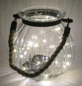 """LED Lighted Glass Jar with Rope Handle Nautical Style 7"""" Tall"""