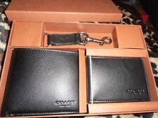 Coach Soft Leather Wallet/Card Case & Key ring Gift Set Black BNIB £275