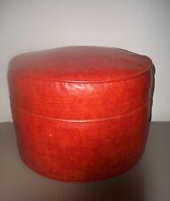 Vintage Round Orange Vinyl Ottoman Footstool Hassock