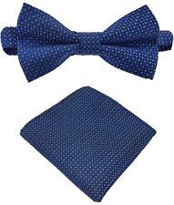 Fliege + Einstecktuch Schleife Smokingfliege Binder de Luxe 150 blau Krawatten