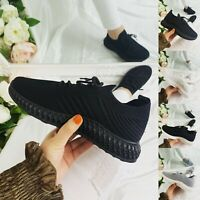 LADIES WOMENS LACE UP SOCK WEDGE SNEAKERS CLASSIC JOGGING PUMPS SHOES TRAINERS