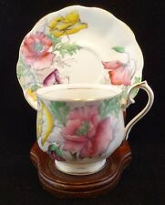 Signed English China ROYAL ALBERT Flower POPPY No 8 Hand Painted Teacup & Saucer