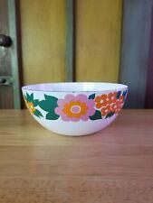 Vhtf Vintage Finel Elisa Floral Enamel Bowl Orange & Pink Finland Kaj Franck