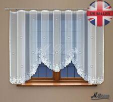 "Modern Jacquard net curtain with curtain tape WHITE 160 x 300 cm (63""x118"")"