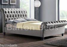 Sleigh Scroll Bed frame Upholstered Chesterfield chenille fabric plush velvet