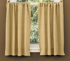 Primitive Country Burlap Tier Curtains 72WX36L Tan Cotton Farmhouse Window