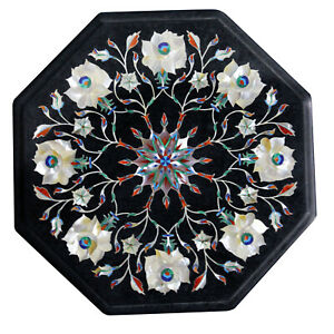 """12"""" Marble Table Top Pietra dura Art Handmade Inlay Floral Work Home Decor"""