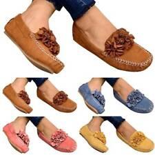Women Ladies Slip On Flat Loafers Casual Flower Pumps Plimsolls Comfy Shoes SZ