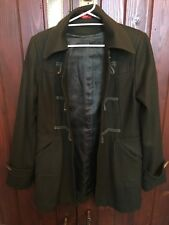 REVIVAL DUFFLE COAT ARMY GREEN WOOL & ACRYLIC SIZE 10