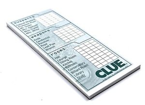 CLUE Game Detective Notepad - 2005 Replacement Pieces Parts