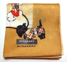 BURBERRY handkerchief scarf Beige Dog Terrier Cotton Auth New Collectible RARE