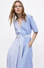 Zara Linem Blue Striped Dress Size M