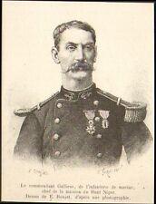 COMMANDANT GALLIENI INFANTERIE DE MARINE CHEF MISSION GRAVURE IMAGE 1887