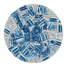 Square Glass Beads Japan 4mm Miyuki Cube Blue Lined Crystal