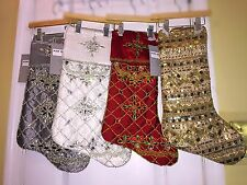 NWT Kim Seybert Neiman Marcus Beaded Holiday Christmas Stockings Gold Silver Red