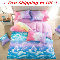 3/4Pc Cloud Sky Bedding Set Pillowcase Quilt Duvet Cover Single Double King Size