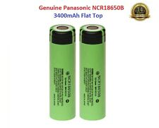 2x GENUINE PANASONIC ® 3400mAh NCR18650B Li-ion 18650 3.7v  Battery Flat Top, UK