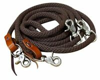 """English or Western Saddle Horse Braide Brown 5/8"""" Nylon Yacht Rope Draw Reins"""