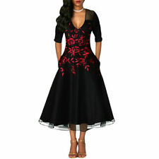 Womens Floral 3/4 Sleeve Maxi Dress Ladies Evening Party Cocktail Long Dress B