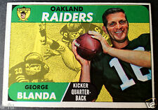 1968 Topps #142 GEORGE BLANDA Card With Great Color Oakland Raiders Kicker + QB