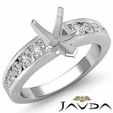 Diamond Engagement Pear Semi Mount Ring Channel Setting 18k White Gold 0.7 Ct.