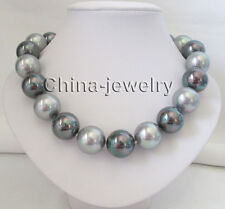 """P7655 - 18"""" 20mm gray + black perfect round sea shell pearl necklace - GP clasp"""