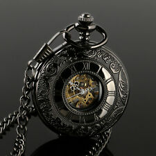 Pocket Watch Skeleton Men's Mechanical Black Chain Roman Numerals Retro Style