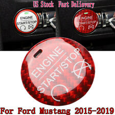 Carbon Fiber Engine Start/Stop Swift Button Cover Trim For Ford Mustang 2015-19