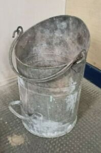 "Genuine ~Vintage ~Galvanised Coal Bucket / Scuttle 16"" Tall ~VGC"