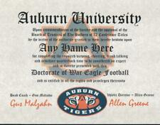 AUBURN TIGERS FOOTBALL~ CERTIFICATE ~ DIPLOMA  ~ MAN CAVE ~ GREAT GIFT  AL