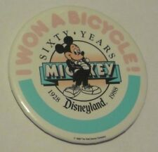 """""""I won a Bicycle"""" Button Mickey's 60th Private Kid's party @ Disneyland '88 Rare"""