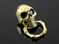 Solid Brass Gold Skull Wallet Chain Connector O-Ring Clasp Biker Leathercraft
