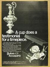 1974 Bulova Accuquartz Marine Navigator watch america's cup photo vintage Ad