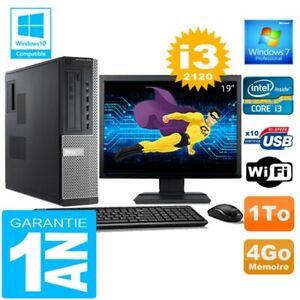 """PC DELL 7010 DT Core I3-2120 Ram 4Go Disque 1 To Wifi W7 Ecran 19"""""""