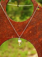 Silver tone real pearl cz stones   NECKLACE