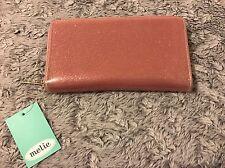 Women Fashion Pink Silver Glitter Print Glossy Long Wallet Clutch Melie Bianco