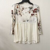 Blushing Heart Ivory Boho Red Roses 3/4 Sleeve Top Small FLAW