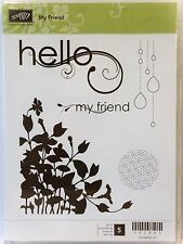 Stampin Up MY FRIEND clear mount stamps NEW Hello floral corner Silhouette