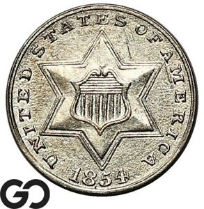 1854 Three Cent Silver, Choice AU++ Better Date