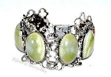 Gros Bracelet vintage argenté pierres vertes bijou