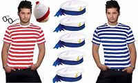 NEW MEN'S RED & WHITE BLUE STRIPE T-SHIRT SAILOR HAT ADULT FANCY DRESS OUTFIT