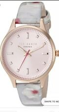 NIB Ted Baker Zoe White Leather With Floral And Pink Dial Watch