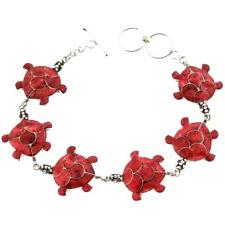 EXQUISITE TURTLE RED CORAL 925 STERLING SILVER bracelet