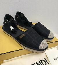 NIB Fendi Roma Logo Motif FF Jacquard Canvas Espadrilles Chanel Sandal Flat 37.5