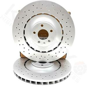 FOR AUDI S6 FRONT CROSS DRILLED HIGH CARBON COATED BRAKE DISCS PAIR 400mm