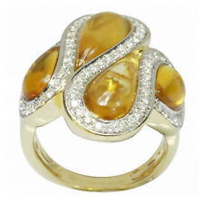 De Buman 18k Yellow Gold 5.32ctw Genuine Citrine & Diamond Ring, Size 7