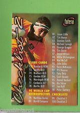 1996 RUGBY UNION  CARD #100 CHECKLIST